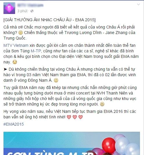 Không ngoài dự đoán, Sơn Tùng M-TP trắng tay tại EMA 2015 - Tin sao Viet - Tin tuc sao Viet - Scandal sao Viet - Tin tuc cua Sao - Tin cua Sao