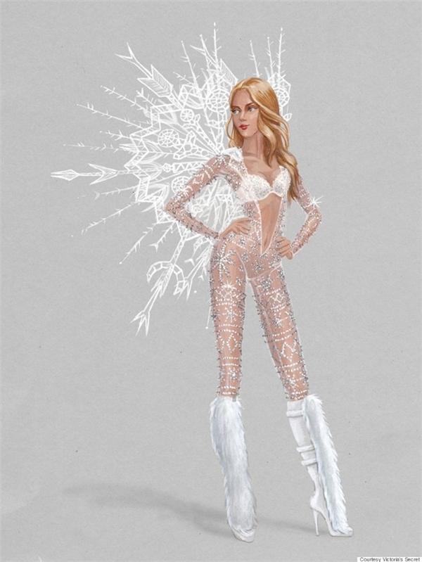 Trong khi đó, Ice Angels lại sử dụng chất liệu xuyên thấu trong suốt đính kết đá quý cùng lông vũ trắng tinh.