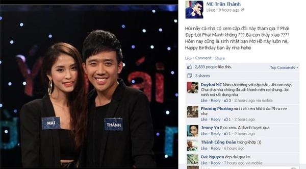Sau hơn một năm quen nhau, MC Trấn Thành mới chính thức ra mắt bạn gái với khán giả truyền hình và người hâm mộ. - Tin sao Viet - Tin tuc sao Viet - Scandal sao Viet - Tin tuc cua Sao - Tin cua Sao