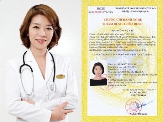 Bác sĩ Shin Kyoung Mi và chứng chỉ hành nghề được Bộ Y tế cấp.