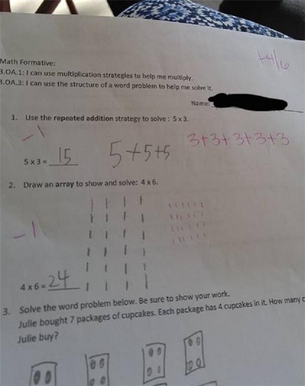 Bài toán cho học sinh lớp 3 của Mỹ đang gây nhiều tranh cãi.