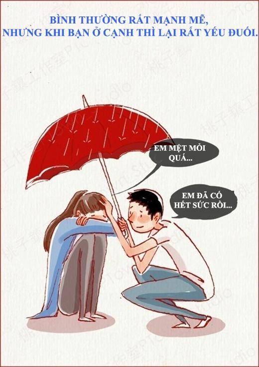 Lúc nào cũng tỏ ra mềm mỏng trước bạn trai thì mới có người bảo vệ chứ.(Nguồn: Weibo)