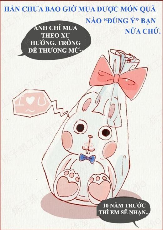 Đa số con trai hiếm khi quan tâm tới mấy món quà.(Nguồn: Weibo)