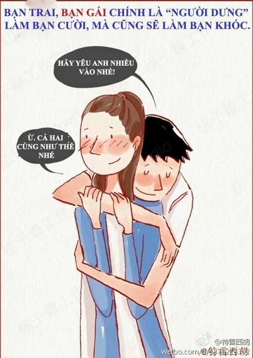 Bạn trai và bạn gái là người luôn khiến bạn khóc và cười.(Nguồn: Weibo)