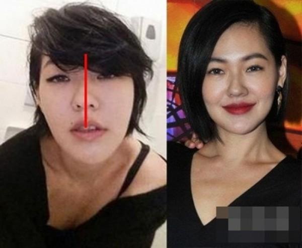 """Trước đó, bức ảnh """"tự sướng"""" do Từ Hy Đệ đăng tải càng khiến nhiều người khẳng định người đẹp lạm dụng """"dao kéo"""". Sống mũi bị lệch khiến lỗ mũi cũng biến dạng theo."""