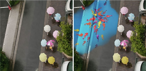 Cùng một con đường nhưng khi mưa xuống, những chú cá hiện ra tô điểm cho Seoul thêm màu sắc. (Nguồn: Internet)