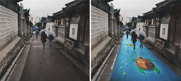 Họa tiết từ những con rùa làm nổi bật đường phố trái ngược với sự u tối của mùa mưa tại Hàn Quốc. (Nguồn: Internet)