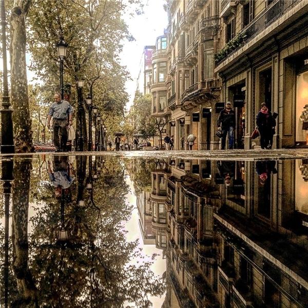 Một buổi chiều ngậptrong sắc vàng làm Barcelona thêm cổ kính.(Ảnh: Guigurui)