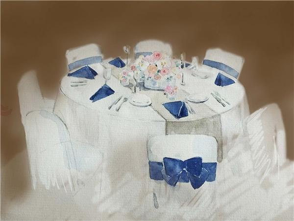 Bàn tiệc với hai màu trắng xanh đượctô điểm bằng những đóa hoa đặt tại trung tâm. - Tin sao Viet - Tin tuc sao Viet - Scandal sao Viet - Tin tuc cua Sao - Tin cua Sao