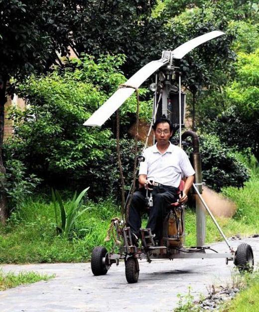 """Nếu nhìn qua, không ai nghĩ đây là chiếc máy bay. Tuy nhiên, """"tác phẩm"""" của ông Ouyang Guojun đã cất cánh với độ cao khoảng vài mét. (Ảnh: Internet)"""