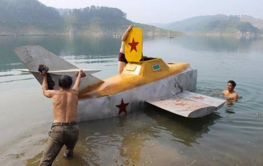 Chiếc tàu ngầm dạng phi cơ được chế tạo bởi một nông dân có tên Tan Yong. (Ảnh: Internet)