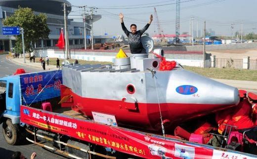 Còn đây là chiếc tàu ngầm được chế tạo với khả năng hoạt động liên tục trong 10 giờ ở độ sâu 100m. Nó đã được bán cho một chủ trang trại để thu hoạch hải sâm ở Hồ Bắc. (Ảnh: Internet)