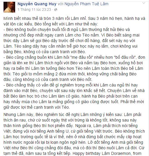 Những lời yêu thương của ông bố tâm lí Quang Huy gửi đến con gái cưng nhân ngày sinh nhật. - Tin sao Viet - Tin tuc sao Viet - Scandal sao Viet - Tin tuc cua Sao - Tin cua Sao