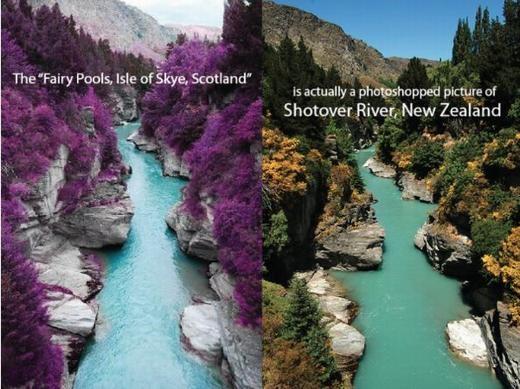 """...chỉ làmột """"đứa con"""" của photoshop. Bức ảnh thật được chụp tại sông Shotower, New Zealand. (Ảnh: Internet)"""