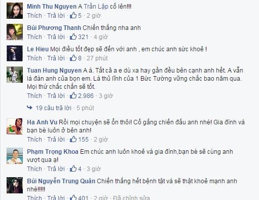 Ngoài ra nhiều sao Việt khác như ca sĩ Minh Thư, Lê Hiếu, Trung Quân, MC Anh Khoa, siêu mẫu Hà Anh cũng gửi lời động viên anh hãy cố gắng và thậtmạnh mẽ. - Tin sao Viet - Tin tuc sao Viet - Scandal sao Viet - Tin tuc cua Sao - Tin cua Sao