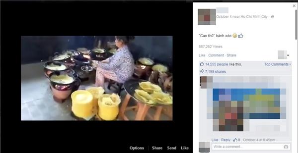 """Clip về """"thánh bánh xèo"""" thu hút hơn 14.000 lượt yêu thích và 7.000 lượt chia sẻ. (Ảnh: Chụp FB)"""