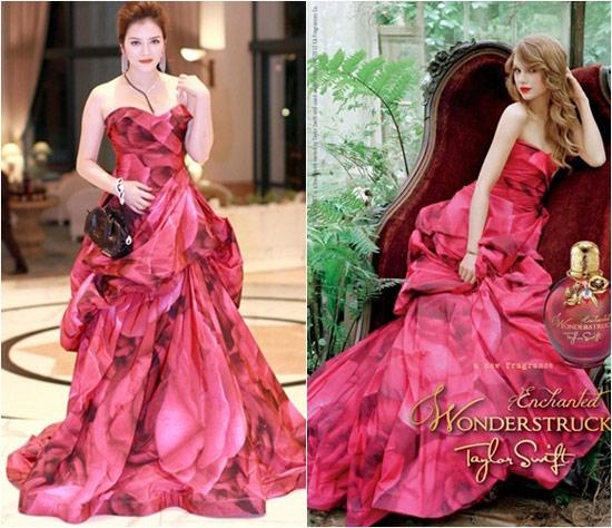 Nếu như Lý Nhã Kỳ mang đến vẻ sang trọng, quý phái thì Taylor Swift lại trẻ trung, tươi mới khi cùng diện mẫu váy xòe có họa tiết và cấu trúc cầu kì.