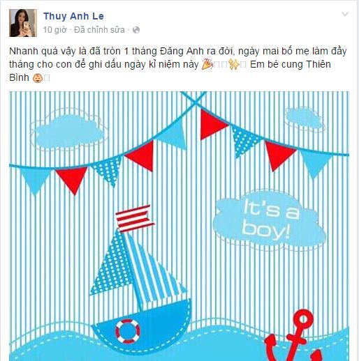 Trước đó, Thủy Anh cũng đã đăng tải ảnh kỉ niệm mừng con trai tròn 1 tháng tuổi. - Tin sao Viet - Tin tuc sao Viet - Scandal sao Viet - Tin tuc cua Sao - Tin cua Sao