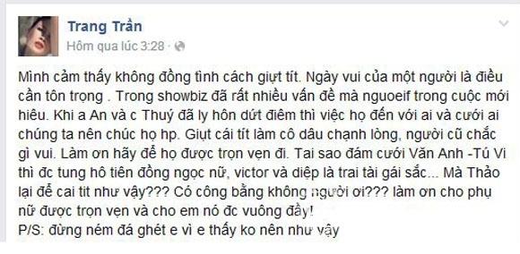 Dòng chia sẻ của Trang Trần. - Tin sao Viet - Tin tuc sao Viet - Scandal sao Viet - Tin tuc cua Sao - Tin cua Sao