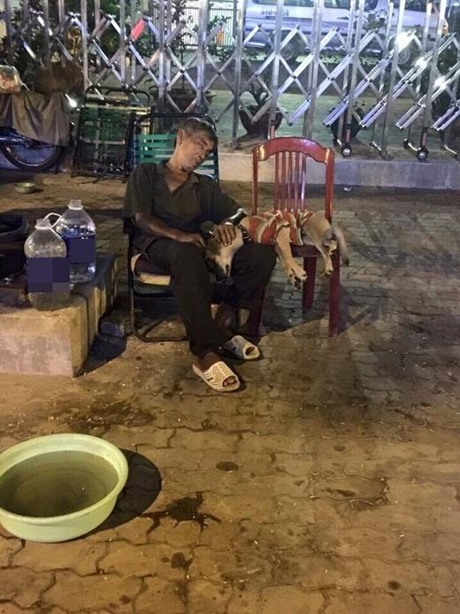 """Trong bức ảnh, một cụ ông khoảng 70 tuổi ngủ say bên vỉa hè, tay đặtlên đầu chú chó cũng đang """"mộng đẹp""""một cách thoải mái bên cạnh chủ. (Ảnh: Facebook)"""