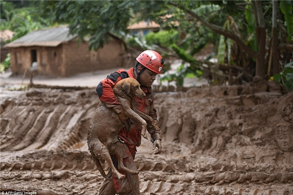 Người lính cứu hỏa quần áo bê bết bùn bế chú chó trên tay. (Ảnh: Internet)