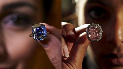 Viên kim cương xanh và hồng cực hiếm. (Ảnh: Internet)