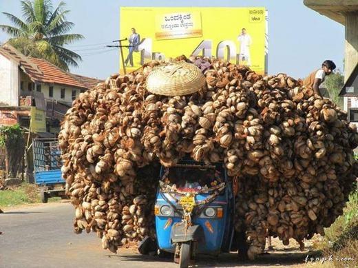 Những quả dừa khô trên chiếc xe lam cũ kĩ. Có lẽ bạn cũng không thể hiểu nổi vì sao người ta chất được nhiều như vậy! (Ảnh: Internet)