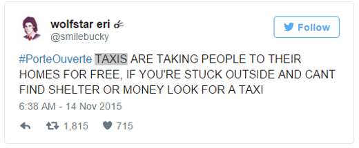 Dòng tweet thông báo hiện tại các xe taxi sẽ nhận chở hành khách miễn phí kèm hashtag #PorteOuverte.