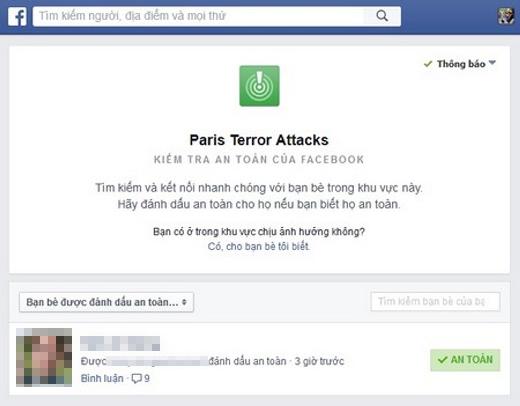 Tính năng Facebook Safety Check.