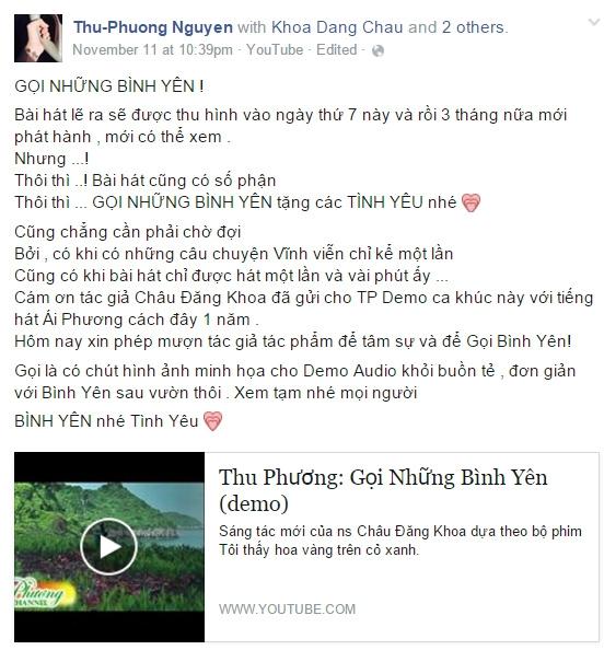 Bản demo Thu Phương đăng tải trên trang cá nhân. - Tin sao Viet - Tin tuc sao Viet - Scandal sao Viet - Tin tuc cua Sao - Tin cua Sao