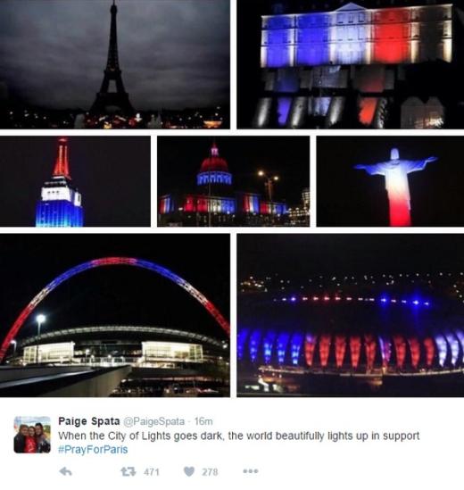 Các công trình tại nhiều thành phố lớn trên thế giới đang cùng đổi màu vì Paris.