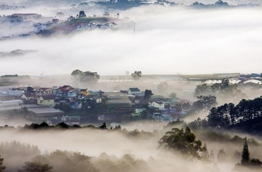 Thành phố Đà Lạt đắm chìm trong biển sương sớm.
