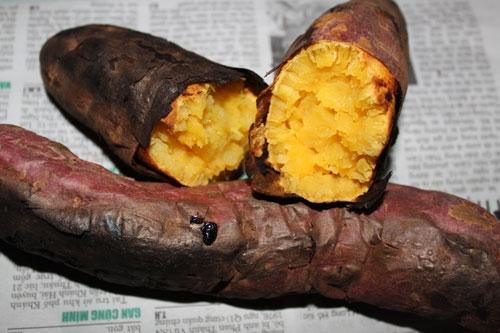 Những món ăn dân dã nhưkhoai nướngcũng rất đắt khách.
