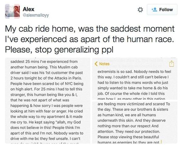 Câu chuyện Alex Malloy chia sẻ khi đi taxi của một tài xế theo đạo Hồi. Ảnh: Twitter NV.
