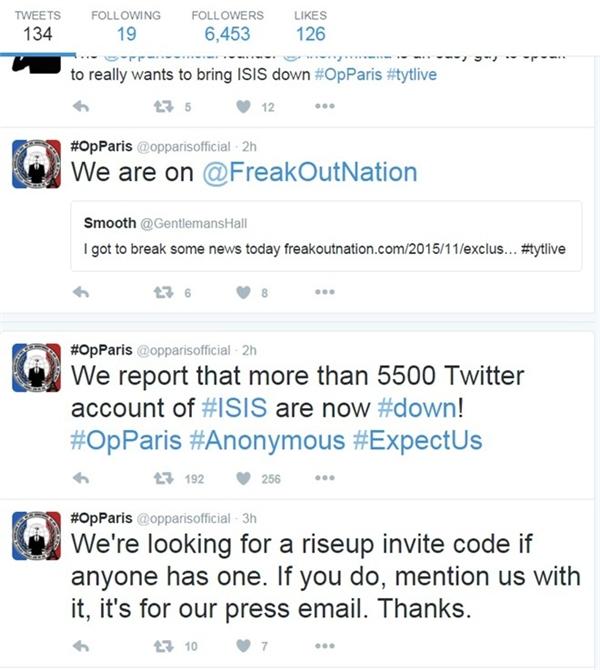Thông báo trên trang chính thức của Anonymous về tiến độ tấn công ISIS.