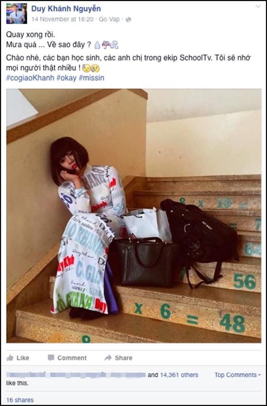 Bức ảnh với dòng trạng thái của cô giáo Khánh khiến các fan hoang mang.