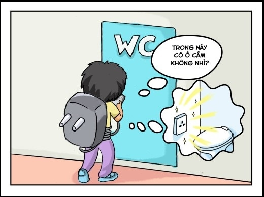 Ngay cả vào W.C cũng không quên đem smartphone và tưởng tượng trong đó có chỗ sạc pin.