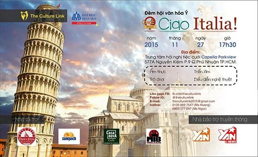 Poster chính thức của chương trình The Culture Link – Ciao Italia.