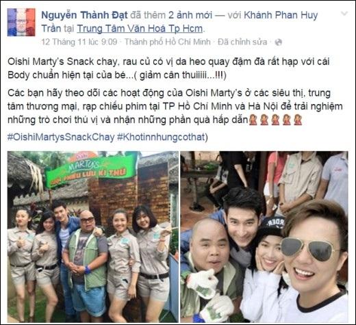 Thành Đạt và bài viết dí dỏm của mình, nhắn nhủ bạn bè cùng theo dõi các hoạt động của Oishi Marty's Snack Chay.