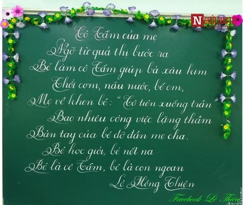 Những dòng chữ đẹp của thầy giáo Lê Văn Thiệu khiến dân mạng xuýt xoa.
