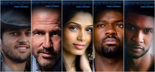 Ê-kíp của Black Knight Decoded từ trái qua phải: đạo diễn Jabbar Raisani, biên kịch James Frey, nữ diễn viên Freida Pinto, tài tử David Oyelowo và Usher - người thể hiện nhạc phim.