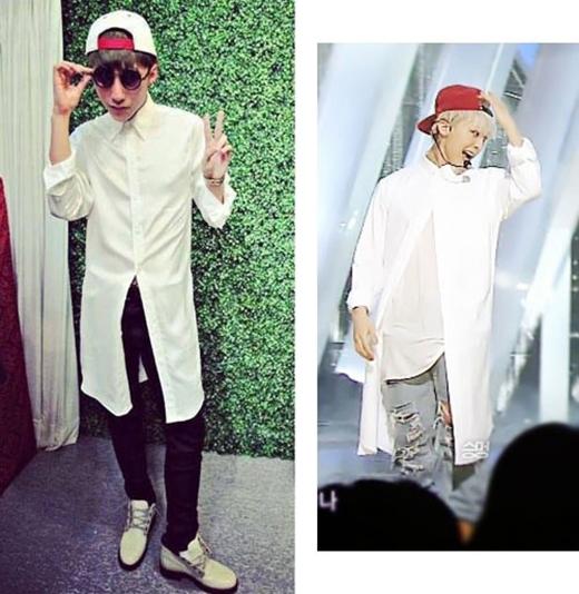 Cả hai cùng lăng xê kiểu áo sơ mi dáng dài hiện đại theo phong cách thời trang phi giới tính. Nếu như G-Dragon cá tính với quần jeans rách thì Sơn Tùng lại trông nền nã hơn với hai gam màu đen, trắng kinh điển.