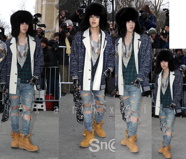 Bộ trang phục mà G-Dragon từng diện tham gia show diễn Thu - Đông 2014 của Chanel được Sơn Tùng khéo léo học hỏi và thay thế bằng họa tiết quân đội cá tính, bụi bặm.