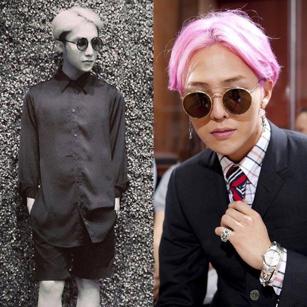Cùng chọn tóc chẻ ngôi và kính gọng tròn cổ điển, nếu như G - Dragon lịch lãm với vest thì Sơn Tùng lại trẻ trung với quần short kết hợp sơ mi.