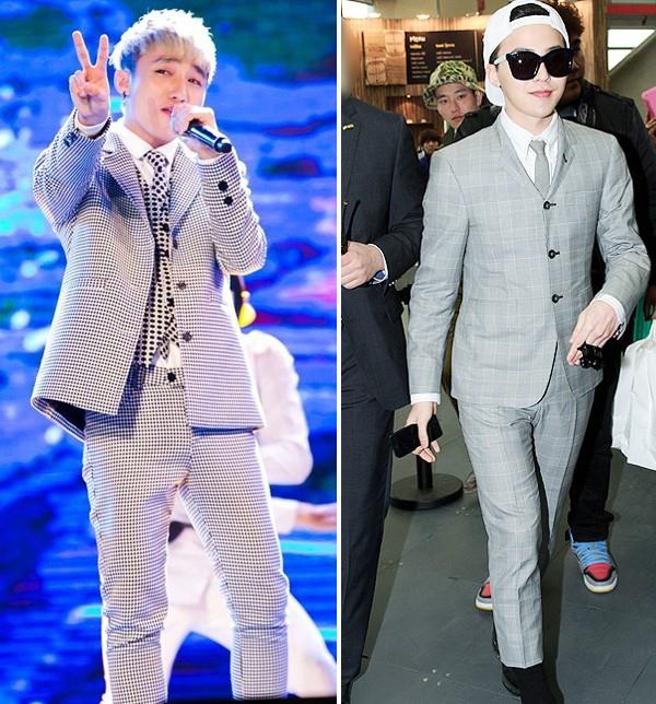 Hai hình ảnh một chín một mười của Sơn Tùng và thần tượng âm nhạc Hàn Quốc khi cùng diện kiểu vest xám kẻ caro.