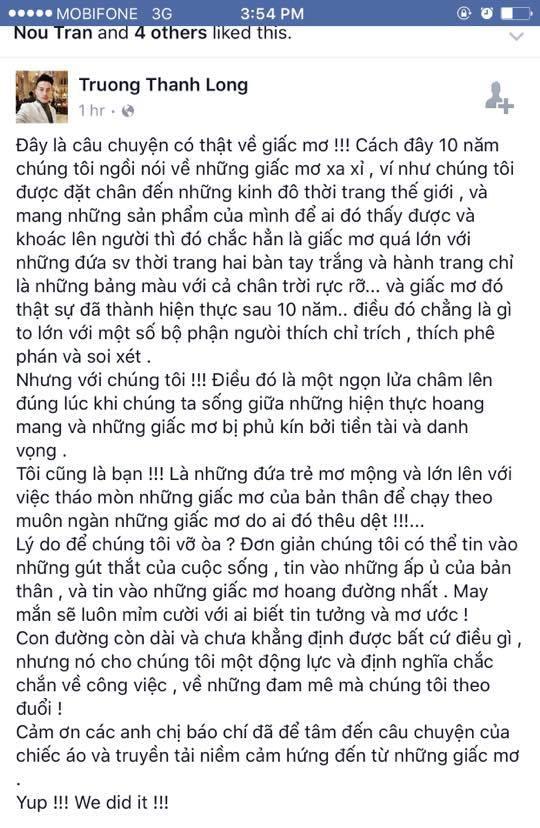 Chia sẻ của Trương Thanh Long trên trang cá nhân