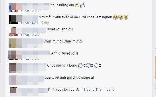 Chia sẻ của Trương Thanh Long nhanh chóng nhận được nhiều lượt yêu thích và bình luận từ phía bạn bè, người hâm mộ. Nhiều lời chúc được gửi đến Trương Thanh Long cho một vài dự án mà phía Alicia Keys đã ngỏ lời với nhà thiết kế tài năng.