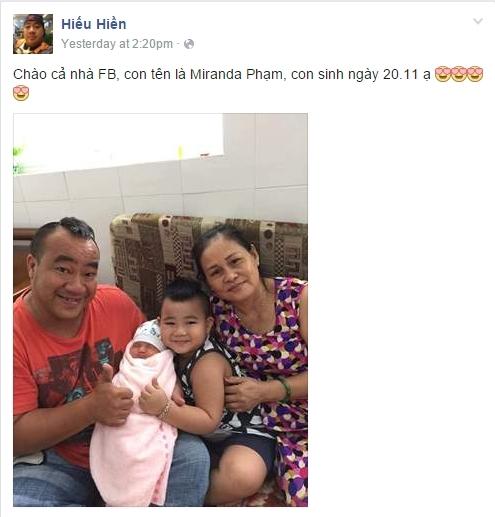 Hiếu Hiền khoe ảnh con gái mới sinh trên trang facebook cá nhân. - Tin sao Viet - Tin tuc sao Viet - Scandal sao Viet - Tin tuc cua Sao - Tin cua Sao