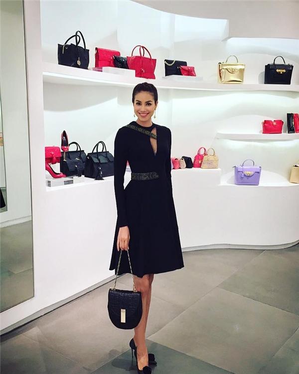 Thiết kế váy xòe của Versace vừa giúp Phạm Hương thể hiện vẻ đẹp đằm thắm, điệu đà vừa mang đến sự gợi cảm, táo bạo, quyến rũ của người phụ nữ hiện đại. Phạm Hương được xem là một trong những mĩ nhân sở hữu gu thời trang tinh tế hàng đầu V-biz.