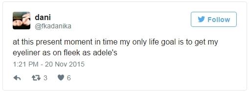 """""""Kể từ giờ phút này mục tiêu duy nhất của cuộc đời tôi chính là kẻ được đường eyeliner chuẩn như của Adele"""""""